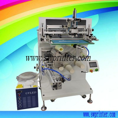 Rotary table curved surface screen printer with UVLED